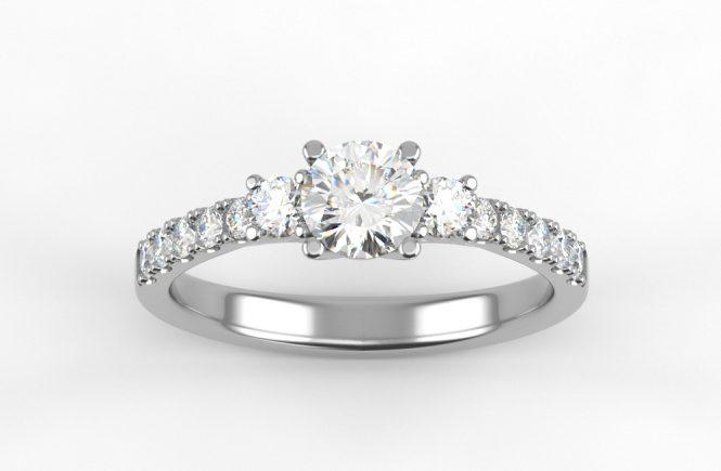 inel de logodna cu trei diamante