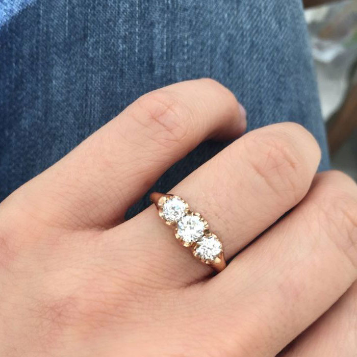 Inel victorian cu 3 diamante