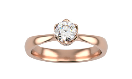 Inel de logodna din aur roz 18K